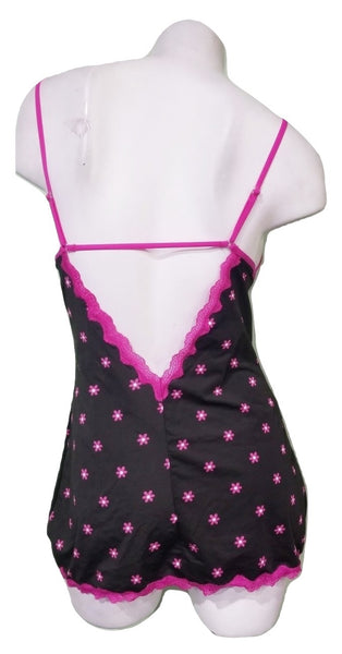 2 Piece Pink Daisy Chemise and G-string Set