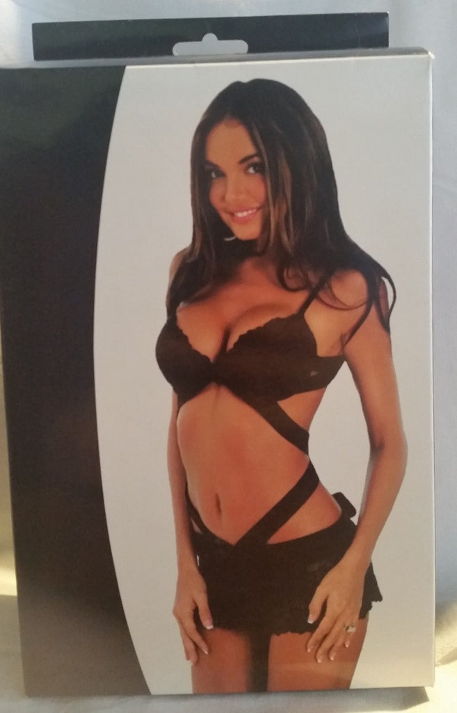 Sexy 2 Piece Black Lace Body Apron - Boxed