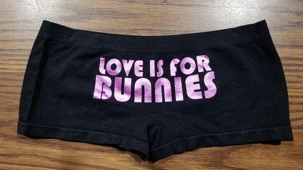 Playboy Boyshorts Pink Metallic Love is for Bunnies