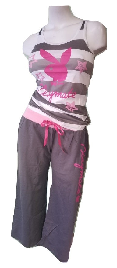 Playboy Gray Capri Pajama Set