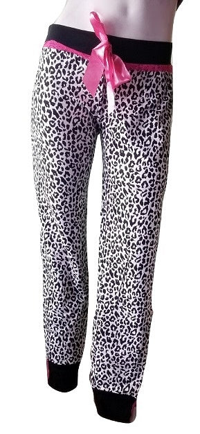 Leopard Print PJ Pants with Lace-trim Cuffs