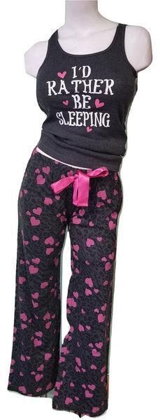 Charcoal & Pink PJ Set - Sleeping
