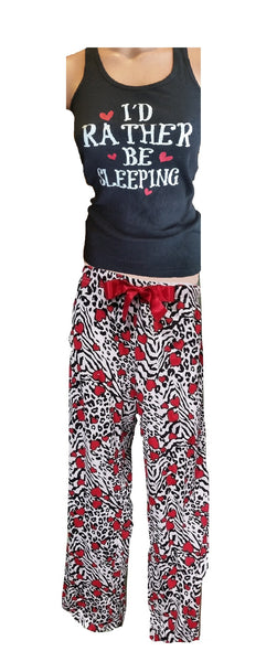 Plus-Size PJ Set - Animal Print with Red Hearts