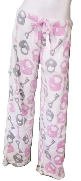 Plus-Size Fleece Heart Lock & Heart Pajama Pants