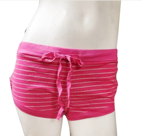 Pink Striped Cotton Shorts