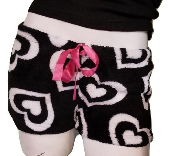 Fleece PJ Shorts - Black with White Hearts