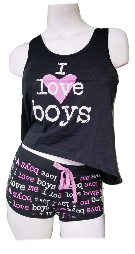 Flirty Short PJ Set - I Love Boys - Black