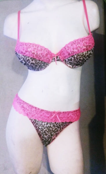 Sexy 2 Piece Leopard and Pink Lace Bra & Panty Set