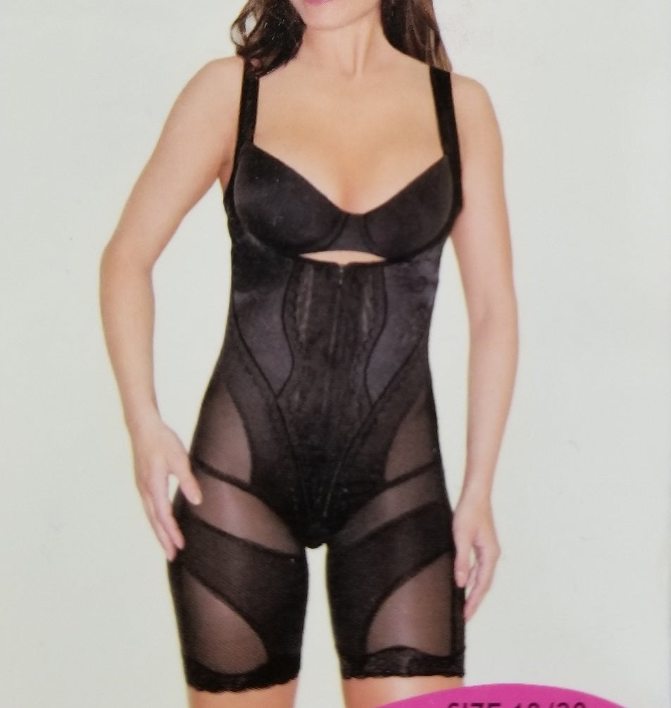 Plus-Size Mesh Full Body Shaper - Black