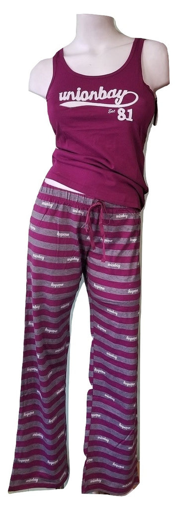 Purple & Gray Striped 100% Cotton PJ Set