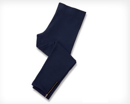 Zipper Ankle Leggings - Navy