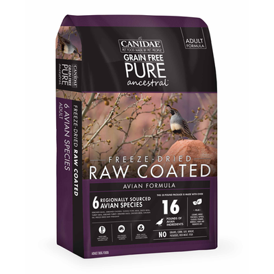 CANIDAE® Grain Free PURE Ancestral™ Raw Coated Avian Formula with Quail, Chicken & Turkey for Dogs