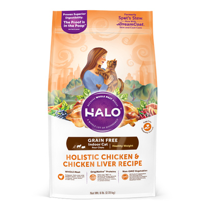 HALO® Grain Free Holistic Chicken & Chicken Liver Healthy Weight Indoor Recipe for Cats