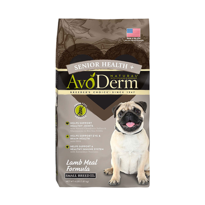 AVODERM Natural® Senior Health+ Grain-Free Lamb Meal Formula for Small Breed Dogs