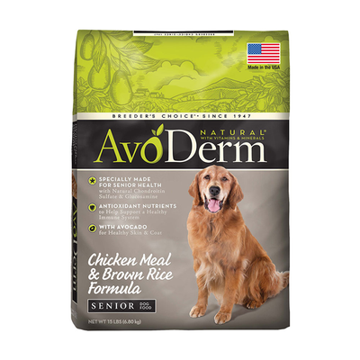 AVODERM Natural® Chicken Meal & Brown Rice Senior Formula for Dogs