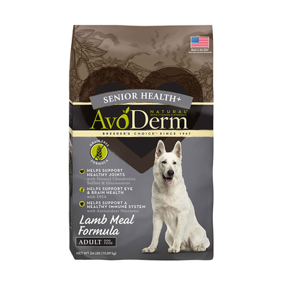 AVODERM Natural® Senior Health+ Grain-Free Lamb Meal Formula for Dogs