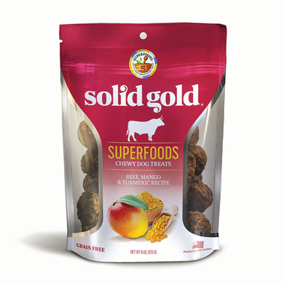 SOLID GOLD® Superfoods Chewy Dog Treats with Beef, Mango & Turmeric