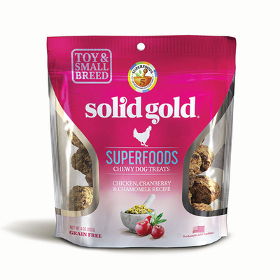 SOLID GOLD® Superfoods Chewy Dog Treats with Chicken, Cranberry & Chamomile