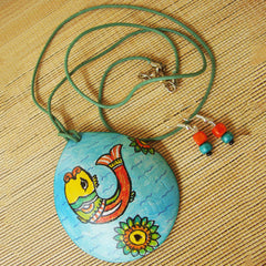 Coconut Shell With Painted Fish Necklace