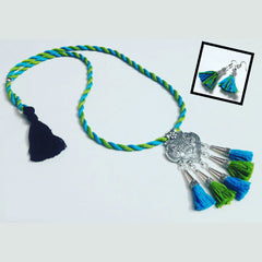 Blue And Green Tassel Necklace
