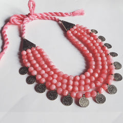 Onyx Bead Necklace In Pink