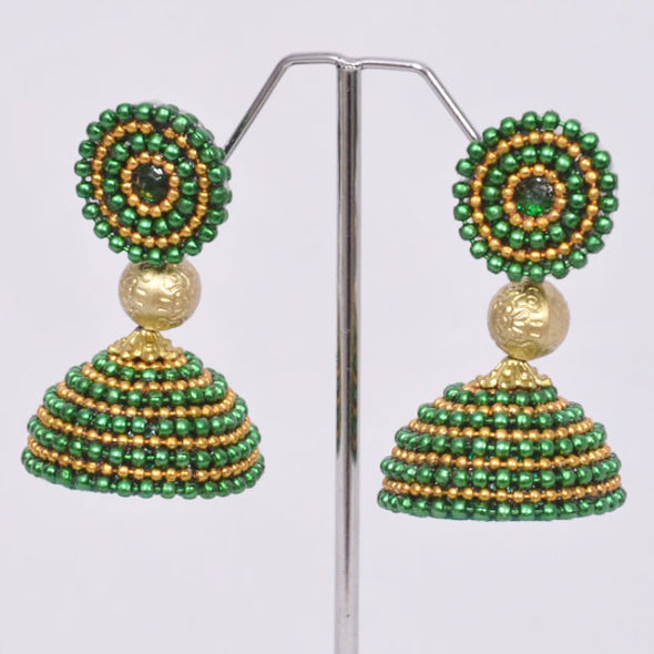 Green With Golden Jhumka
