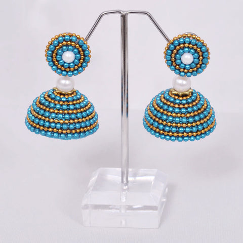 Blue With Golden Jhumka