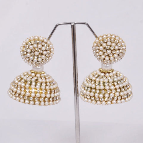 White Bead Jhumka