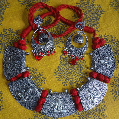 Hot Red Ganesha Necklace
