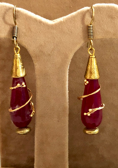 Red Stone Drops in Antique Gold finish
