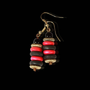 Pink and Black Forest Seeds, Earrings