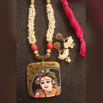 Tanjore Painting of Sree Krishna on Terracotta Necklace Set