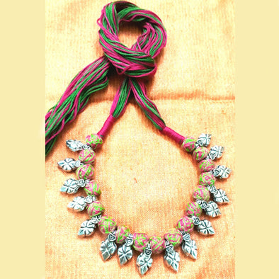 Multi Colour Thread Ball Necklace