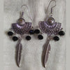 Black Crystals Leaf Oxidized Earrings