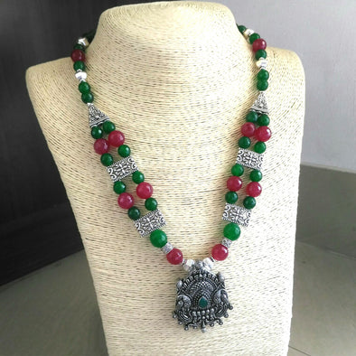 Royal Maroon Green Necklace