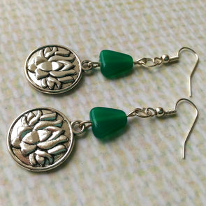 Lotus with Green Beads Earrings