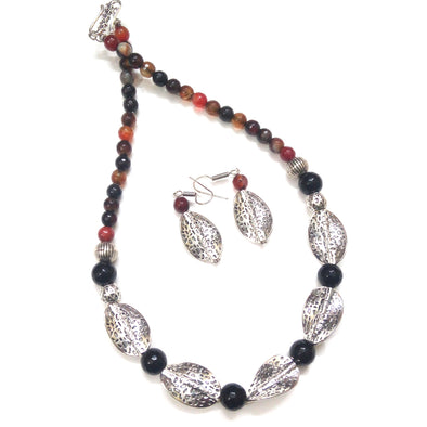 Handcrafted Black-Brown German Silver Spiral Beaded neckpiece Set