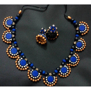 Blue Daisy Necklace and Earrings set