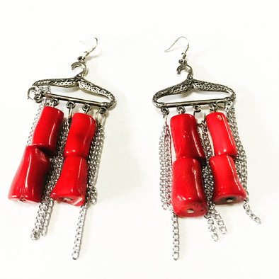 Coral Red Hanger Earrings