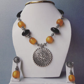 Ganpati Ceramics Beads Statement Necklace