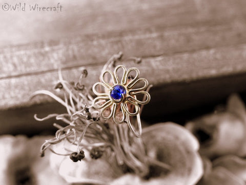 Ink Blue Flower Faux Nose Ring