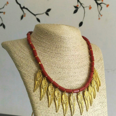 Leafy Coral Necklace Set