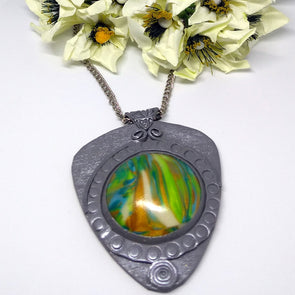 Silver Toned Polymer Clay Daily Wear Necklace