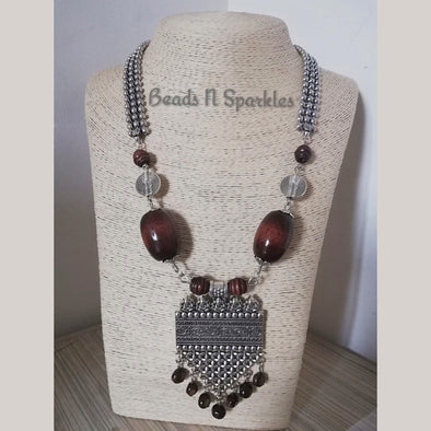 Big Brown Silver Moti Necklace