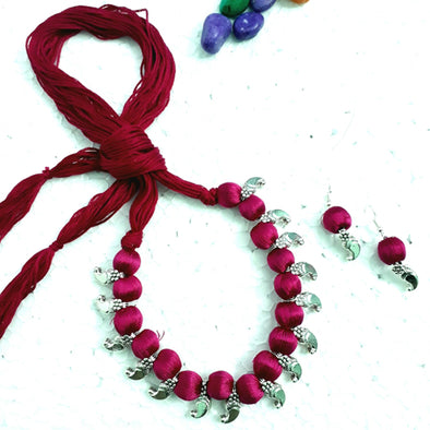 silk necklace thread jewelry red navodyami set home