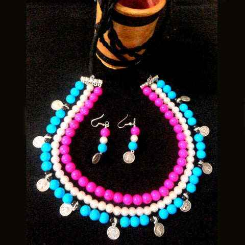 Multicolour Three Stage Gini Necklace