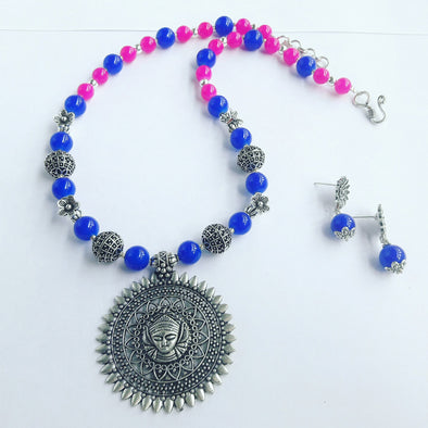 Glass Beads Durga Necklace 1