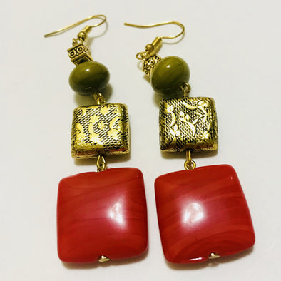 Red Square Dangler Earrings