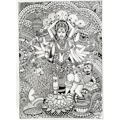Framed Black and White Kali Mural Art 2