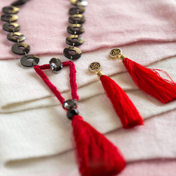 Red Tassels Necklace with Tassels Earrings